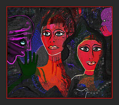Art Print featuring the digital art 1977 - Faces Red by Irmgard Schoendorf Welch