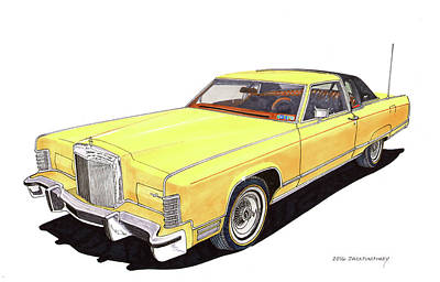Painting - 1977 Lincoln Town Coup by Jack Pumphrey