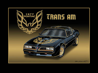 Smokey Painting - 1977 Pontiac Trans Am Bandit by Rudy Edwards