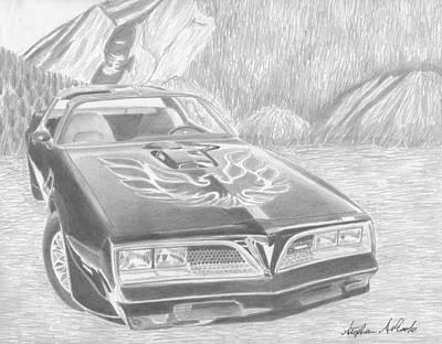 Pontiac Drawing - 1977 Pontiac Trans Am Classic Car Art Print by Stephen Rooks