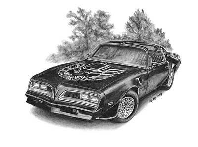 Pontiac Drawing - 1977 Pontiac Trans Am by Nickela Zais