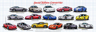 40th Anniversary Digital Art - 1978 - 2011 Special Edition Corvettes by K Scott Teeters