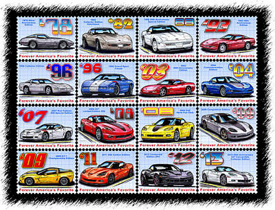Drawing - 1978 - 2013 Special Edition Corvette Postage Stamps by K Scott Teeters