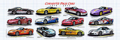 1978 - 2012 Indy 500 Pace Car Corvettes Art Print
