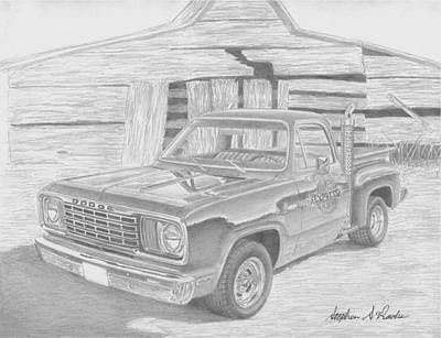 1978 Dodge Lil Red Express Pickup Truck Art Print Original