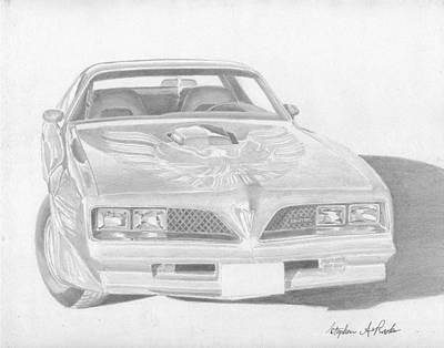 Pontiac Drawing - 1978 Pontiac Trans Am Classic Car Art Print by Stephen Rooks