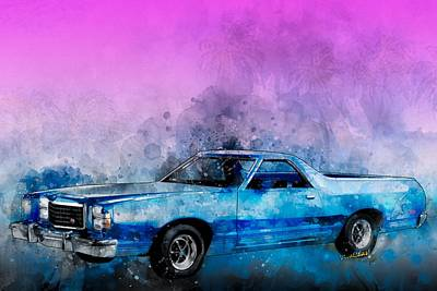 Digital Art - 1979 Ranchero Watercolour Of The Last Sport Pickup Truck by Chas Sinklier