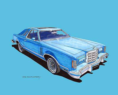 Model T Ford Painting - 1979 Thunderbird Tee Shirt Art by Jack Pumphrey