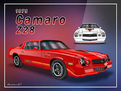 Gm Painting - 1979 Z28 Camaro Red And White by Rudy Edwards