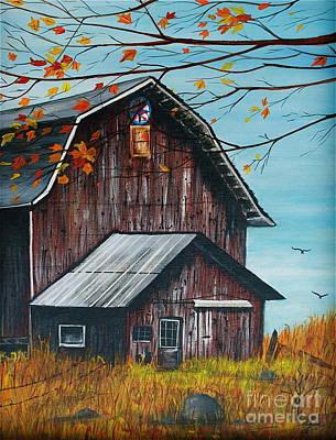 Linda Simon Wall Decor Painting - 1980 Barn by Linda Simon