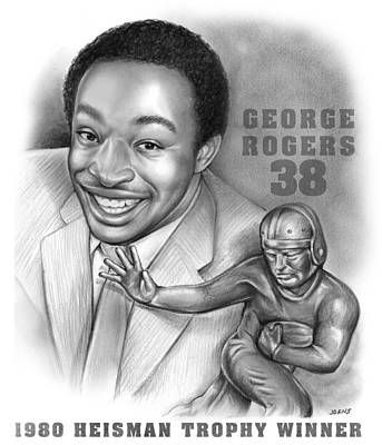 Georgetown Drawing - 1980 Heisman Winner by Greg Joens