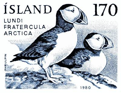 Puffin Digital Art - 1980 Iceland Atlantic Puffins Postage Stamp by Retro Graphics