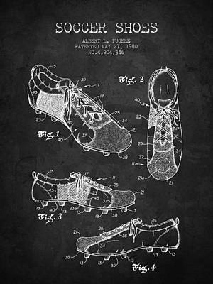 Football Royalty-Free and Rights-Managed Images - 1980 Soccer Shoe Patent - Charcoal - NB by Aged Pixel