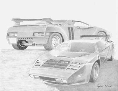 Automotive Drawing - 1980 Vector W2 Sports Car Art Print by Stephen Rooks