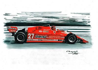 Didier Pironi Painting - 1981  Ferrari 126cx by Artem Oleynik