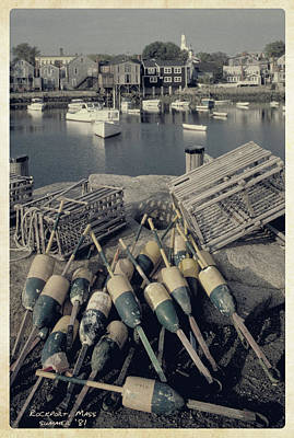Photograph - 1981 Rockport Massachuttes Harbor Scene  by Garry McMichael