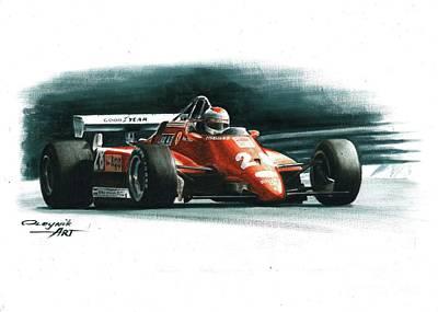 Andretti Painting - 1982  Ferrari 126c2 Italy Gp by Artem Oleynik