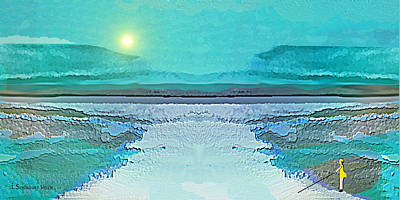 Art Print featuring the digital art 1983 - Blue Waterland -  2017 by Irmgard Schoendorf Welch