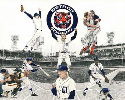 Mixed Media - 1984 Detroit Tigers by Chris Brown