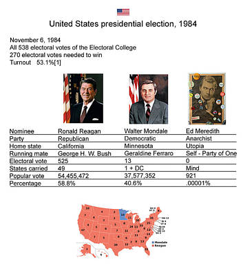 Mixed Media - 1984 Election Results by Ed Meredith