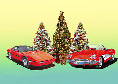 Painting - 1986 And 1961 Corvette Christmas by Jack Pumphrey
