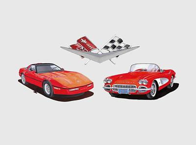 Painting - 1986 And 1961 Corvettes by Jack Pumphrey