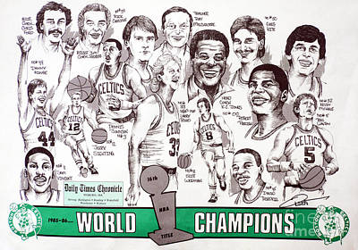 1986 Boston Celtics Championship Newspaper Poster Art Print by Dave Olsen