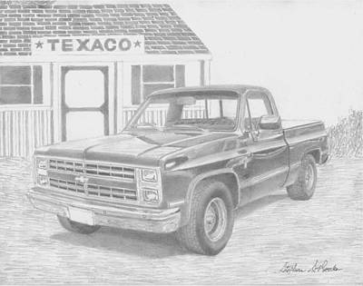 Chevrolet Truck Drawing - 1986 Chevrolet Pickup Truck Art Print by Stephen Rooks