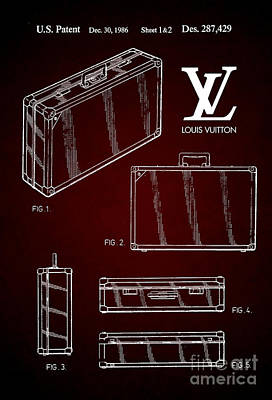 Prada Drawing - 1986 Louis Vuitton Suitcase Patent 6 by Nishanth Gopinathan