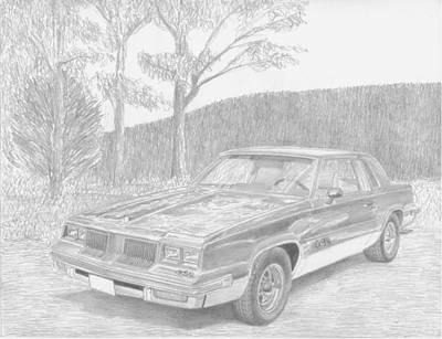 Automotive Drawing - 1986 Oldsmobile Cutlass 442 Classic Car Art Print by Stephen Rooks