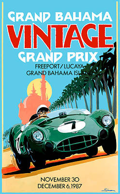 Bahamas Wall Art - Digital Art - 1987 Grand Bahama Vintage Grand Prix Race Poster by Retro Graphics