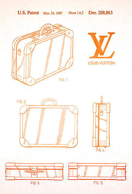 Prada Drawing - 1987 Louis Vuitton Suitcase Patent 2 by Nishanth Gopinathan