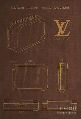 Prada Drawing - 1987 Louis Vuitton Suitcase Patent 4 by Nishanth Gopinathan