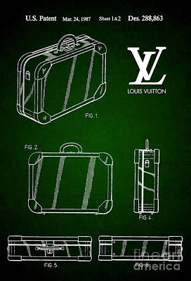 Prada Drawing - 1987 Louis Vuitton Suitcase Patent 5 by Nishanth Gopinathan
