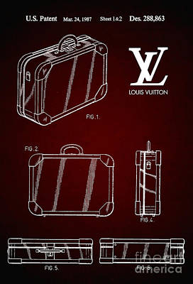 Prada Drawing - 1987 Louis Vuitton Suitcase Patent 6 by Nishanth Gopinathan