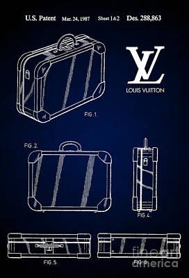 Prada Drawing - 1987 Louis Vuitton Suitcase Patent 7 by Nishanth Gopinathan