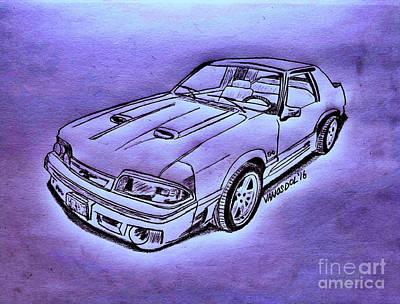 1987 Mustang Gt 5.0 - Purple Neon Abstract Original