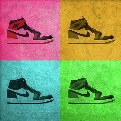 Bull Mixed Media - 1988 Original Air Jordan Basketball Shoes Vintage Pop Art Color Quadrants by Design Turnpike