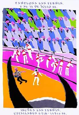 Bullfight Digital Art - 1988 Pamplona Spain Running Of The Bulls Poster by Retro Graphics