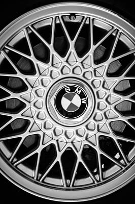 Photograph - 1989 Bmw E30 M3 Convertible Wheel Emblem -0879bw by Jill Reger