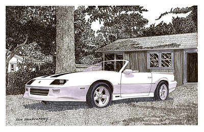 Model Drawing - 1989 Camaro R S Convertible by Jack Pumphrey