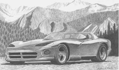 Viper Drawing - 1989 Dodge Viper Rt10 Sports Car Art Print by Stephen Rooks