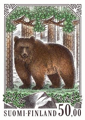 Stamp Digital Art - 1989 Finland Brown Bear Postage Stamp by Retro Graphics