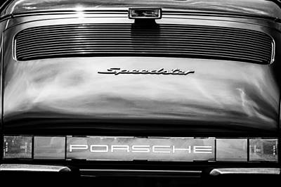 Photograph - 1989 Porsche Speedster Convertible Tail Light Emblem -0281bw by Jill Reger