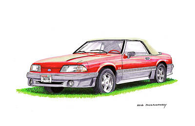 Mustang Painting - 1989 Saleen Mustang Convertible by Jack Pumphrey