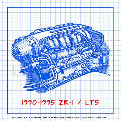 1990-1995 C4 Zr-1 Lt5 Corvette Engine Blueprint Art Print