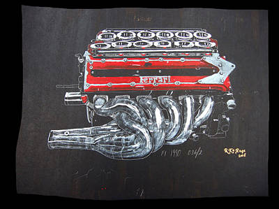 Painting - 1990 Ferrari F1 Engine V12 by Richard Le Page