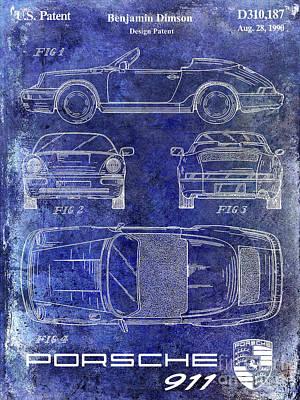 1990 Porsche 911 Patent Blue Art Print