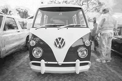 Photograph - 1990 Subaru Sambar Van Bus Bw C142 by Rich Franco
