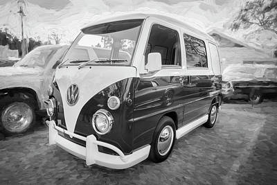 Photograph - 1990 Subaru Sambar Van Bus Bw C144 by Rich Franco